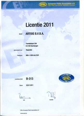 Artois bvba EPAL licentie